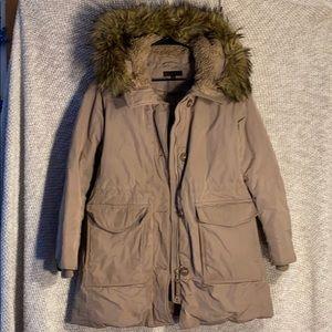 Uniqlo Tan Long Puff Jacket with Faux Fur Hood (L)